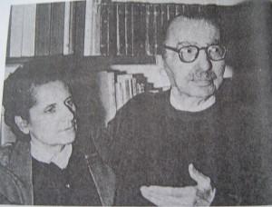 卡赞扎基斯与妻子艾莱妮(1956年)。